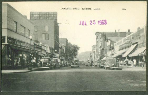 Congress Street Rumford ME postcard 1953