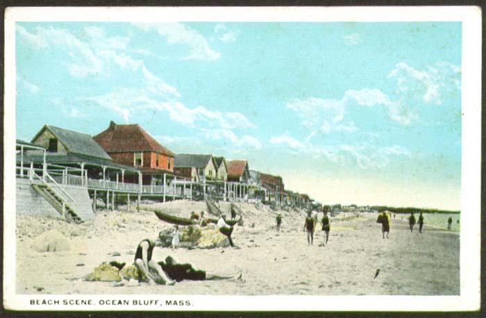 Beach Scene Ocean Bluff MA postcard 1924