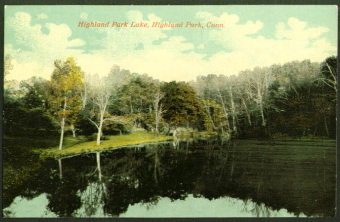 Highland Park Lake Highland Park CT postcard 1910s