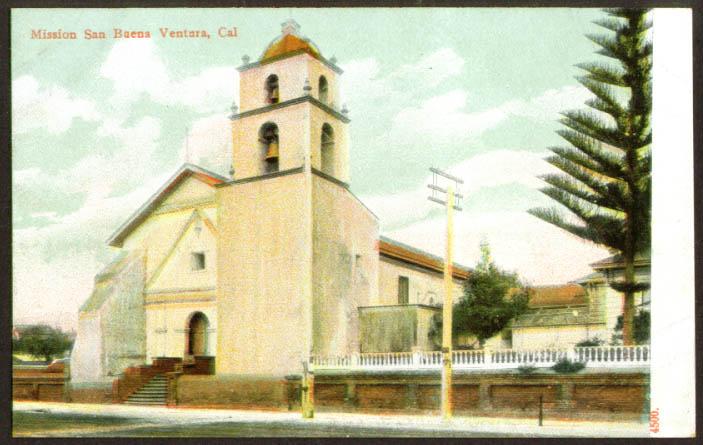 Mission San Buena Ventura CA postcard 1910s