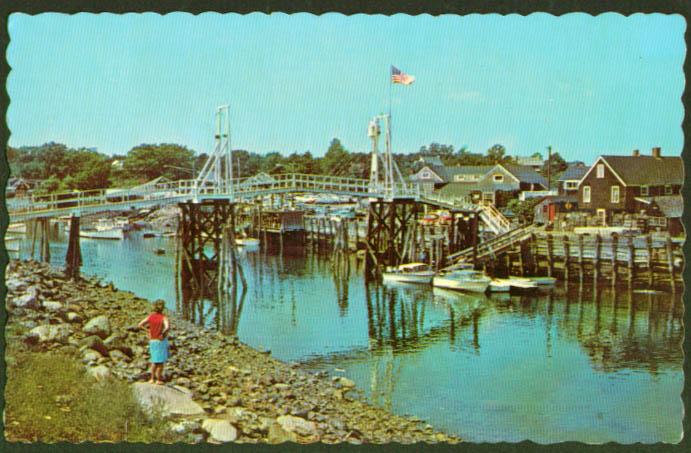 Bridge at Perkins Cove Ogunquit ME postcard 1972