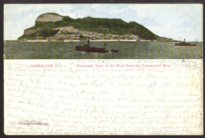 Panorama Roch Commercial Mole Gilbraltar undivided back postcard 1905