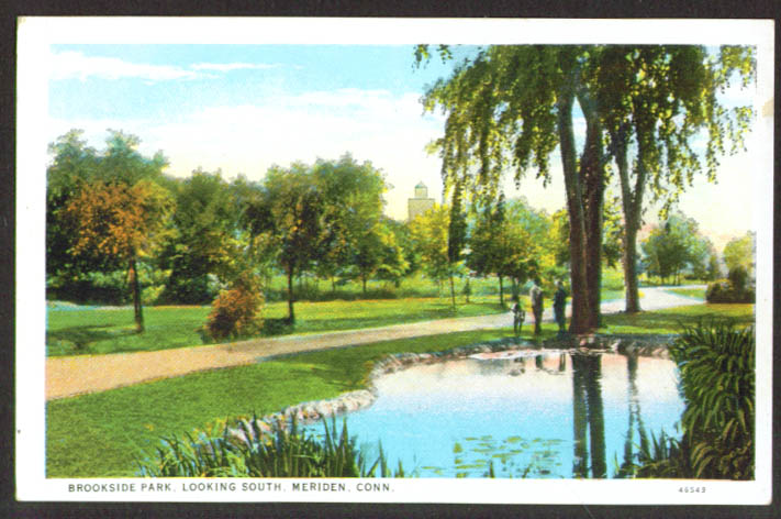 Brookside Park looking South: Meriden CT postcard 1910s