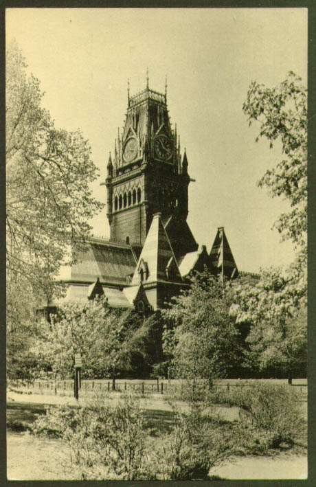Memorial Hall Harvard University Cambridge MA postcard 1920s