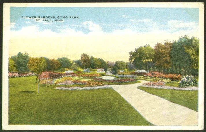 Flower Gardens Como Park St Paul MN postcard 1910s