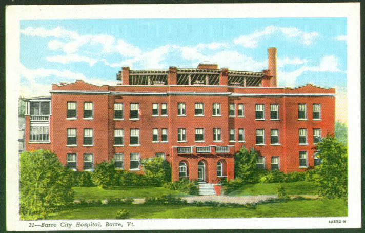 Barre City Hospital at Barre VT postcard 1940s