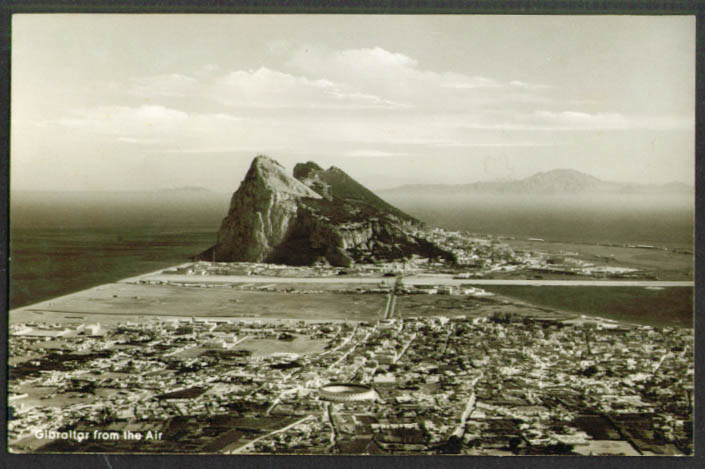 Stadium & Rock of Gibraltar from Air RPPC 1930s