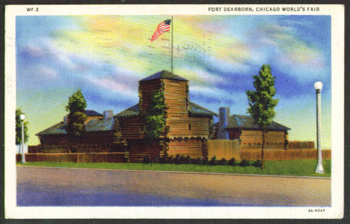 Fort Dearborn Chicago World's Fair postcard 1933