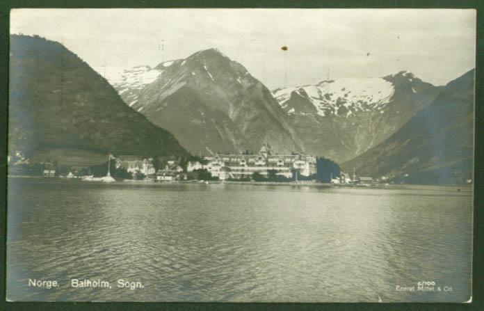 Hotel on lake Balholm Norway RPPC postcard 1926
