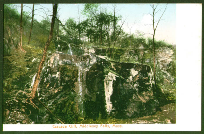 Cascade Cliff Middlesex Fells MA undivided back postcard 1900s