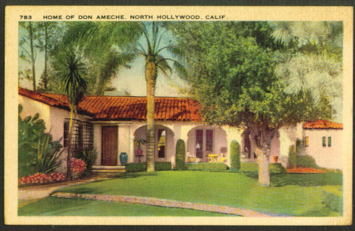 Home of Don Ameche North Hollywood CA postcard 1939