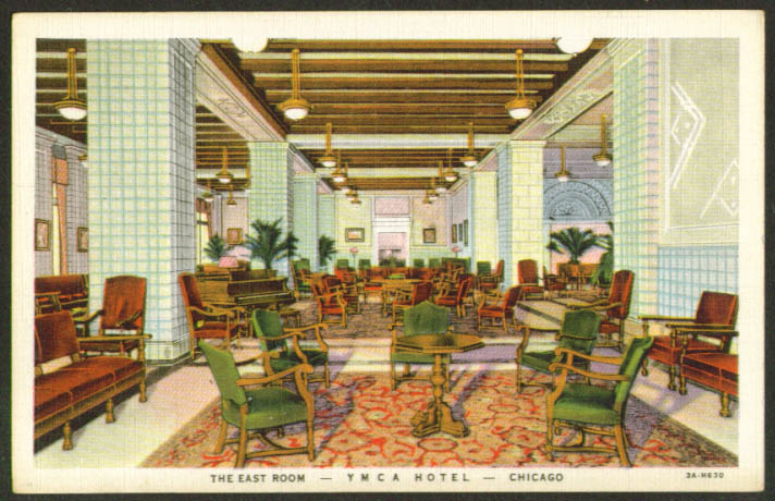 East Room YMCA Y M C A Hotel Chicago postcard 1930s