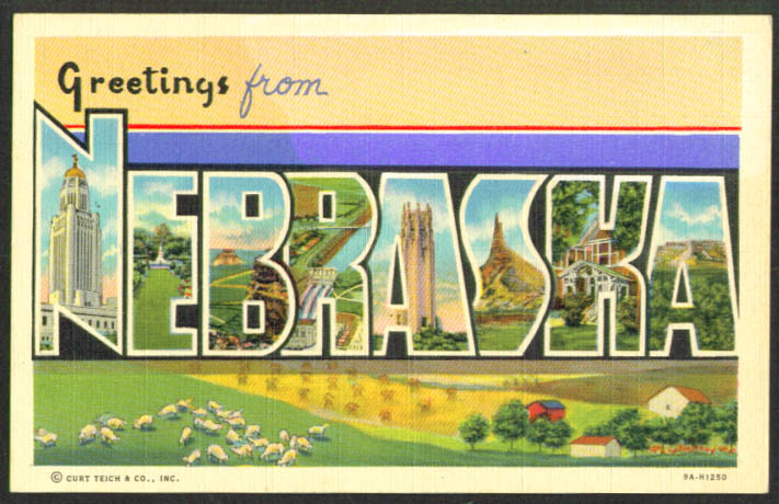Greetings from NEBRASKA large letter postcard 1940s Teich #9A-H1250