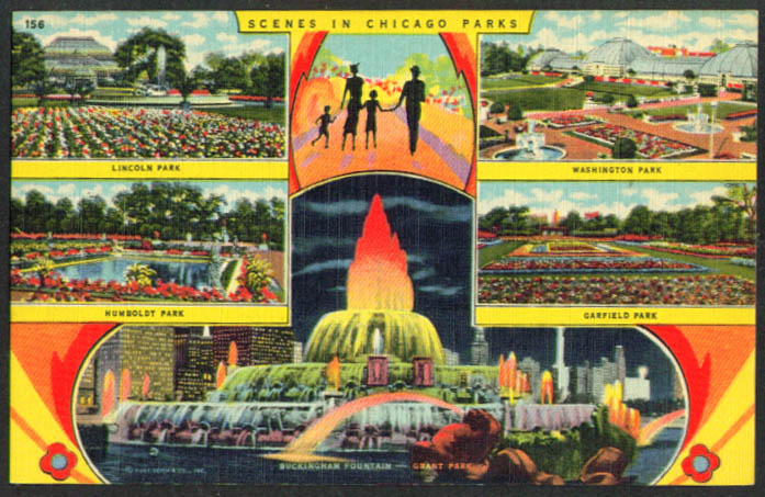 Scenes in Chicago Parks 5-view postcard 1940s