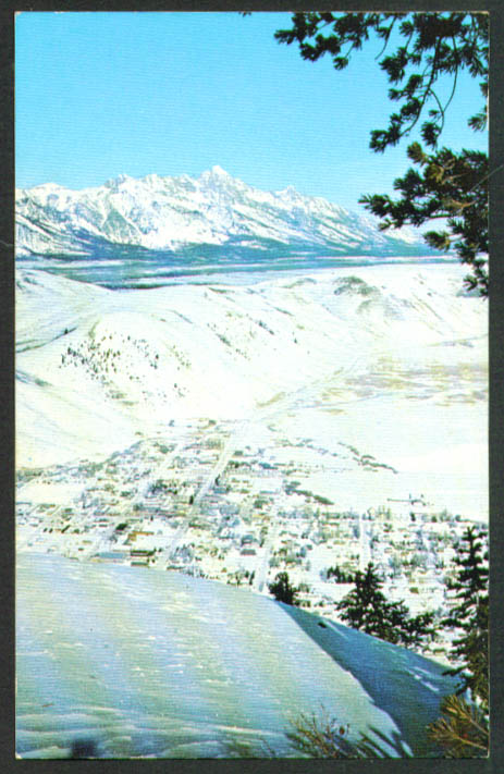 Jackson Hole from Snow King Mountain WY postcard 1950s