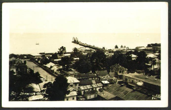 Bay & dock La Cieba Honrudas RPPC 1930s