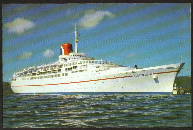 Carnival Cruise Lines S S Festivale postcard 1970s