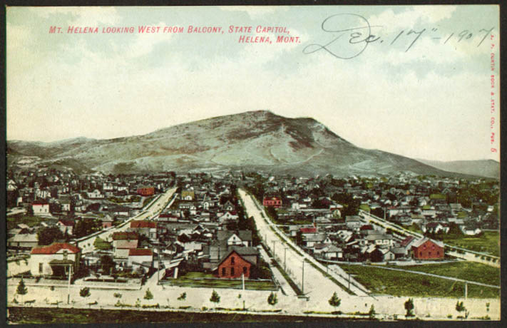 Mt Helena & town from Capitol Balcony MT postcard 1907