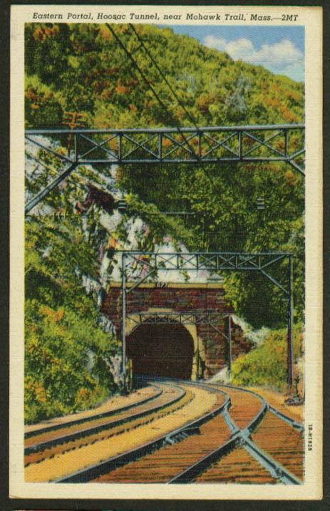 Eastern Portal Hoosac RR Tunnel MA postcard 1940s