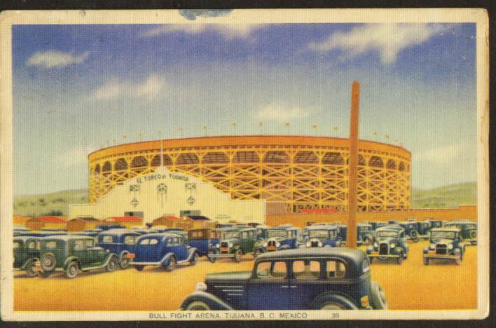 Bull Fight Arena Tijuana Mexico postcard 1930s