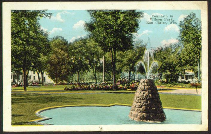 Fountain Wilson Park Eau Claire WI postcard 1923