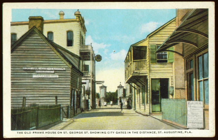 Frame House Chiropodist Manicure St George Street St Augustine FL postcard 1910s