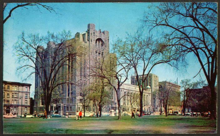 Masonic Temple at Detroit MI postcard 1958