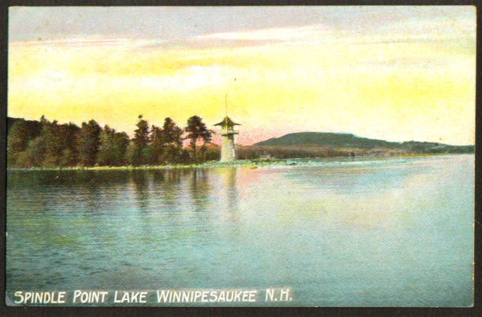 Spindle Point Lighthouse Winnepesaukee NH postcard 1909