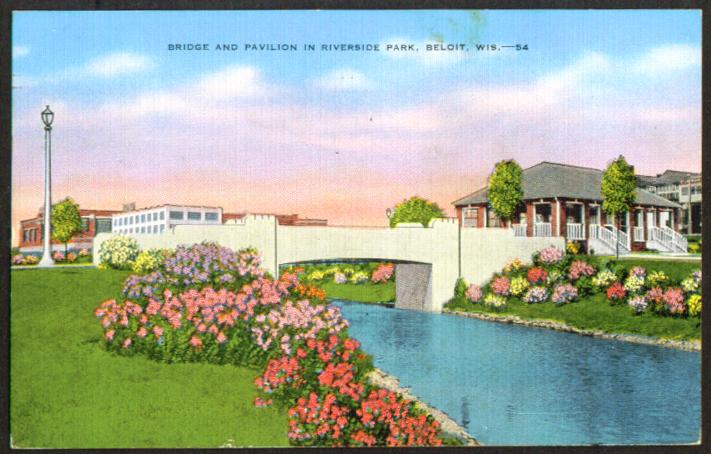 Bridge & Pavilion Riverside Park Beloit WI postcard 1943