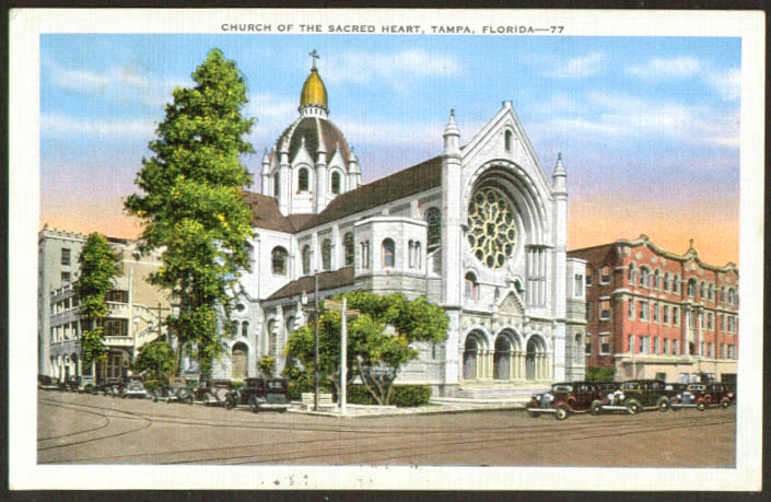 Church of the Sacred Haert Tampa FL postcard 1930s