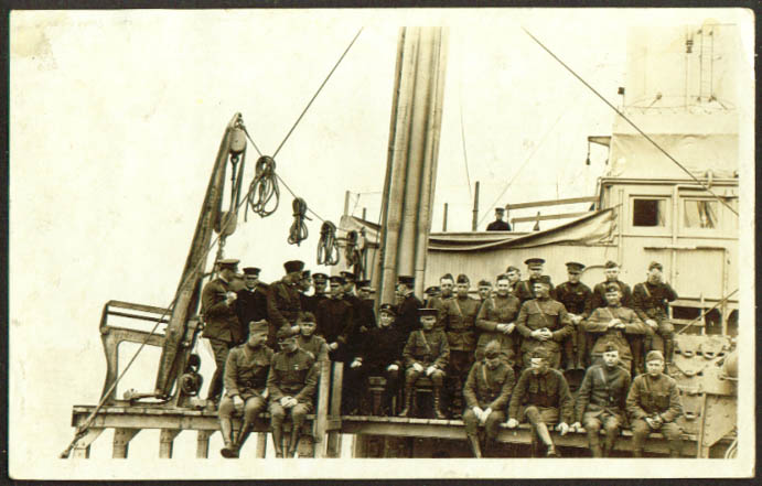 Image for Soldiers S S Santa Olivia St Nazaire France RPPC postcard 1910s