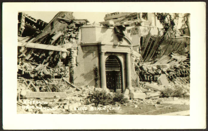Jefferson High Long Beach Earthquake CA RPPC 1933