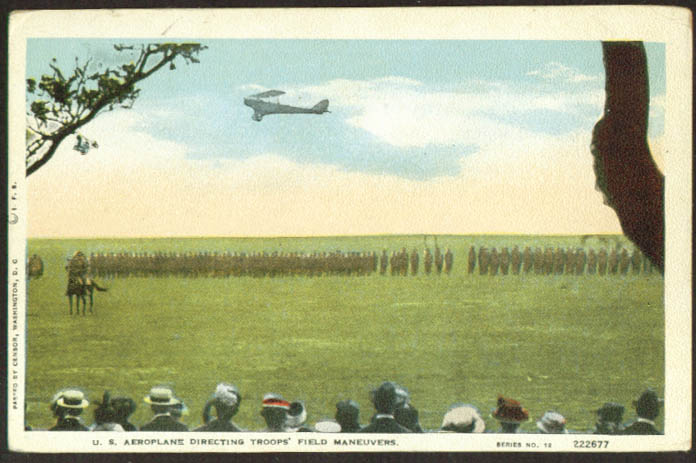 Aeroplane directs USA field maneuvers postcard 1910s