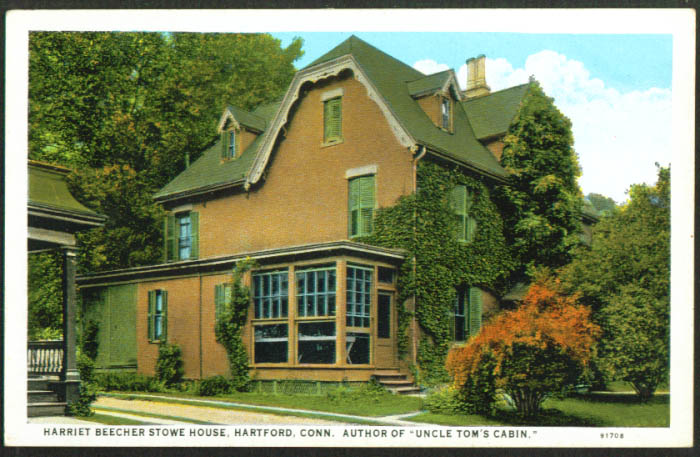 Harriet Beecher Stowe House Hartford CT postcard 1920s