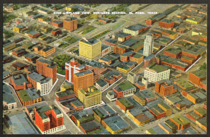 Air View Business Section El Paso TX postcard 1930s