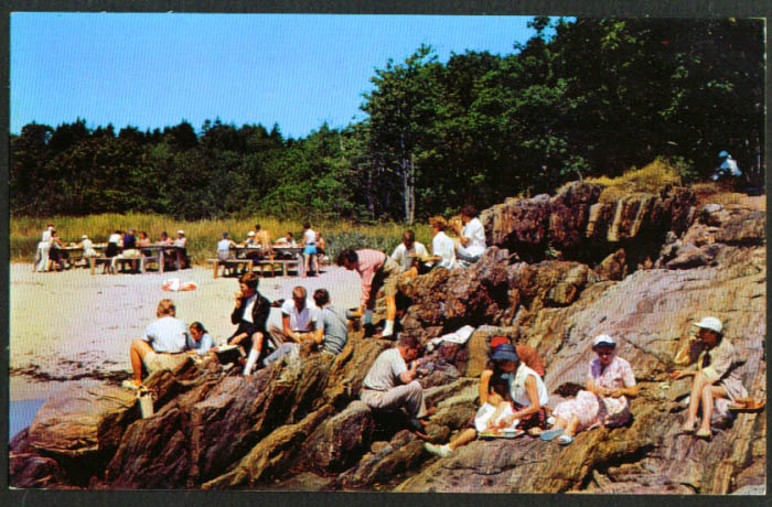 Lobster Picnic on Rocks Sebasco Lodge ME postcard 1950s