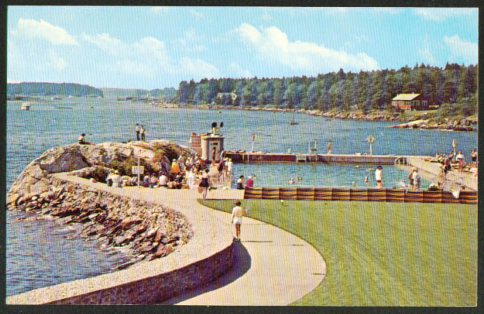 Pool & Lake Sebasco Lodge Estates ME postcard 1960s