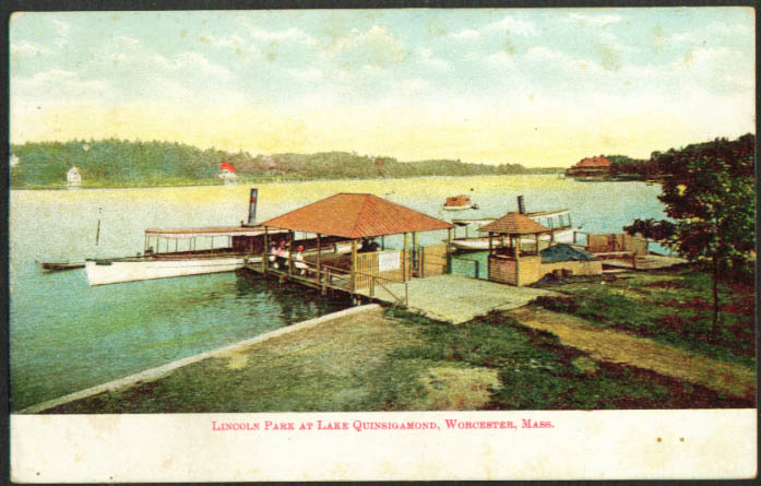 Lincoln Park Lake Quinsigamond Worcester MA undivided back postcard 1900s