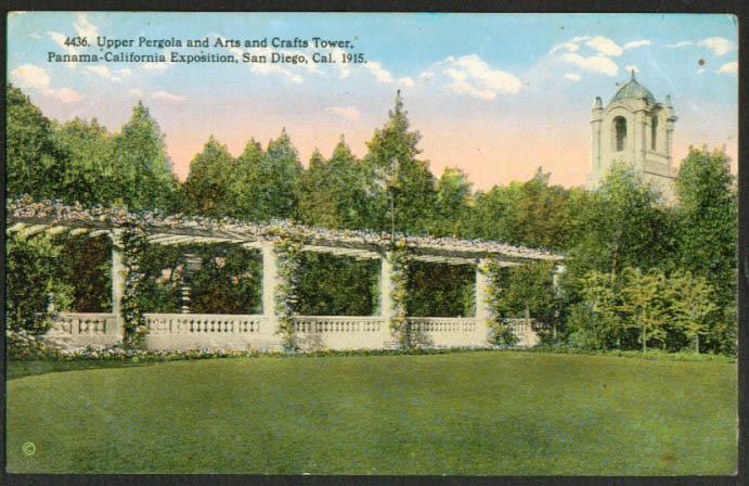 Pergola Panama-California Expo San Diego postcard 1915