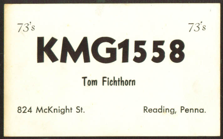 Tom Fichthorn KMG-1558 Reading PA Ham QSL postcard 1960s