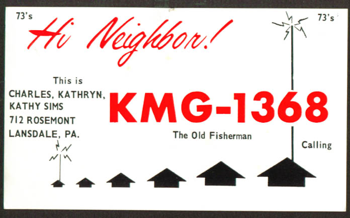 Charles Sims KMG-1368 Lansdale PA QSL postcard 1960s
