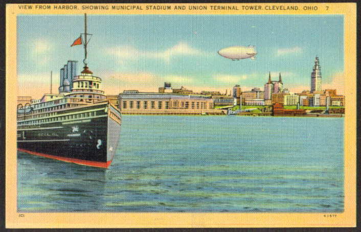 Blimp Stadium Lake Steamer Cleveland OH postcard 1944