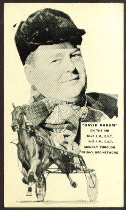 David Harum NBC Harness Horse contest postcard 1936