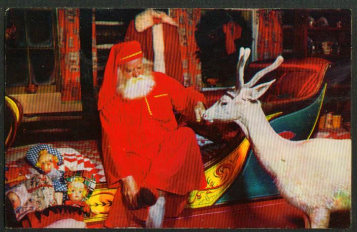 Santa Claus & Blitzen North Pole NY postcard 1950s
