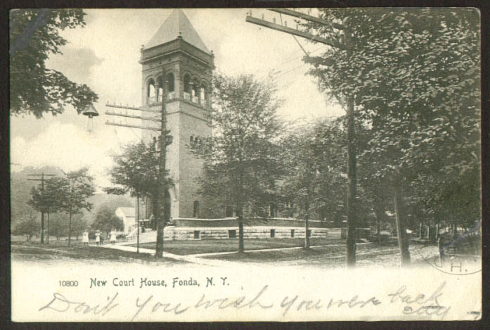New Court House at Fonda NY undivided back postcard 1906