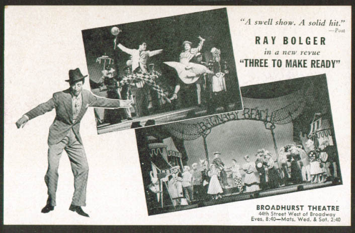 Ray Bolger Three to Make Ready NYC postcard 1946