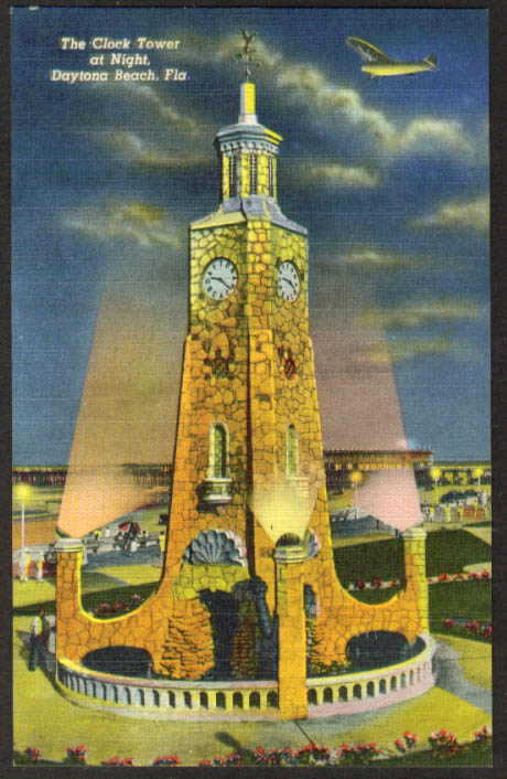 Clock Tower at night Daytona Beach FL postcard 1940s