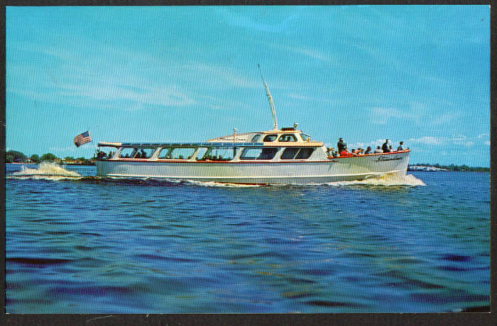 Power Yacht Streamliner Twin Ports MN postcard 1960