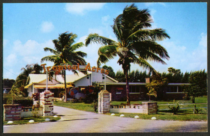 Tropical Acres Restaurant Dania FL postcard 1955