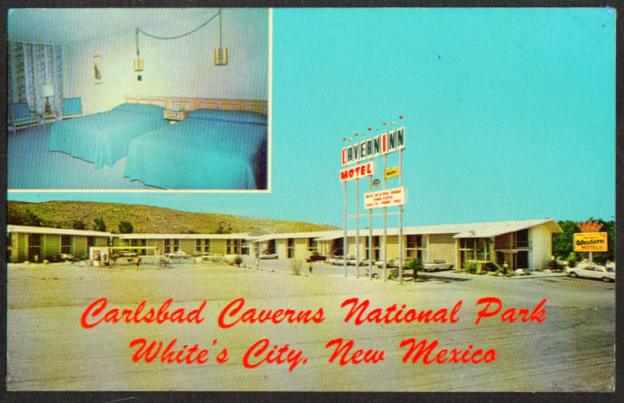 Cavern Inn Motel White's City NM 2-view postcard 1960s